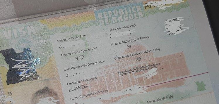 Kovan työn tulos - Angolan viisumi passissa!